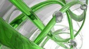 Превью обои 3d, спираль, стекло, зеленый, белый