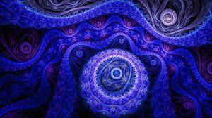 Превью обои абстракция, синий, узоры, фиолетовый, темный