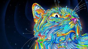 Превью обои абстракция, вектор, кот, разноцветный, краски