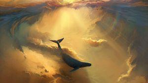 Превью обои акула, дельфин, море, арт, подводный мир