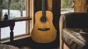 Превью обои акустическая гитара, гитара, музыкальный инструмент, коричневый, деревянный