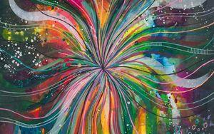 Превью обои акварель, линии, разноцветный, радужный