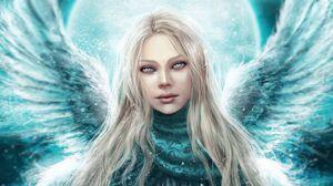 Превью обои ангел, девушка, крылья, глаза, милая