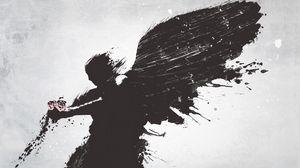 Превью обои ангел, крылья, цветок, вектор