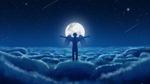 Превью обои ангел, небо, крылья, луна, облака