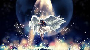 Превью обои ангел, полет, небо, красиво