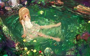 Превью обои аниме, девочка, природа, вода