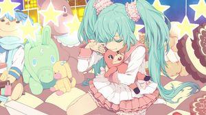 Превью обои аниме, девочка, слезы, игрушки, грусть