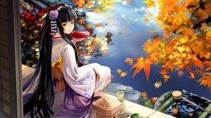Превью обои аниме, девушка, гейша, кимоно