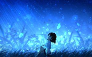 Превью обои аниме, девушка, листья, ветер