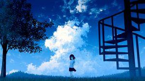Превью обои аниме, девушка, небо, облака