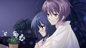 Превью обои аниме, парень, девушка, горшок, цветок, объятие