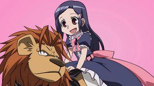Превью обои анимешка, девочка, радость, лев