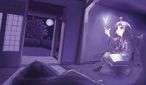Превью обои анимешка, комната, книга, читать, вечер