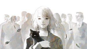 Превью обои анимешка, кот, толпа, арт