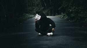 Превью обои аноним, человек, маска, дорога, лес