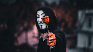 Превью обои аноним, роза, цветок, маска, капюшон