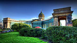 Превью обои архитектура, казанский, санкт-петербург, собор, декоративный, сад, hdr