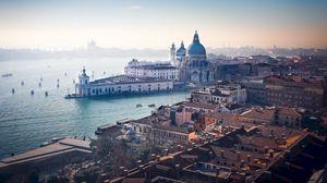 Превью обои архитектура, вид сверху, река, канал, венеция, италия