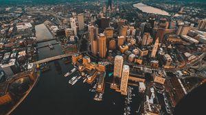 Превью обои архитектура, город, вид сверху, здания, река