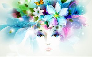 Превью обои арт, девушка, взгляд, цветы, лепестки, бабочка, листья, брызги