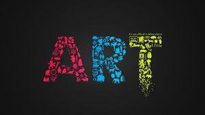 Превью обои art, искусство, черный фон, буквы