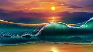 Превью обои арт, закат, пляж, море, волны