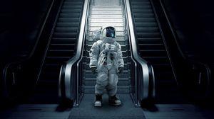 Превью обои астронавт, космонавт, скафандр, эскалатор, лестница