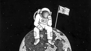 Превью обои астронавт, космос, арт, планета, рисунок, чб
