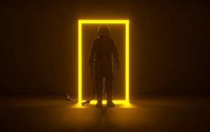 Превью обои астронавт, портал, неон, рамка, свечение, темный