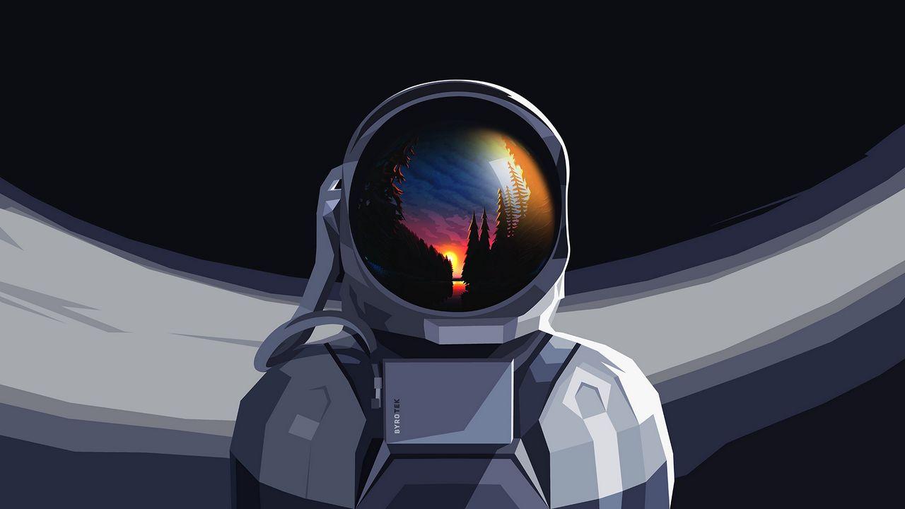 1280x720 Обои астронавт, скафандр, отражение, закат, арт