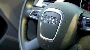 Превью обои audi, автомобиль, руль, управление