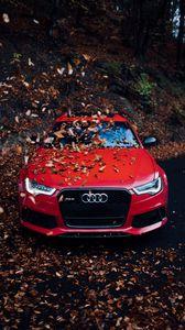 Превью обои audi, автомобиль, вид спереди, красный, бампер, листва, осень