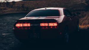 Превью обои авто, вид сзади, фары, вечер