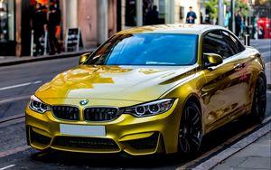 Превью обои авто, желтый, вид сбоку, стиль