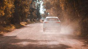 Превью обои автомобиль, белый, дорога, пыль