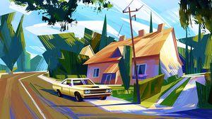 Превью обои автомобиль, домик, арт, красочный