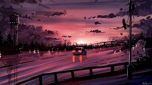 Превью обои автомобиль, дорога, закат, отражение, арт, фиолетовый
