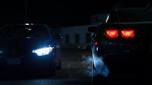 Превью обои автомобиль, фары, ночь