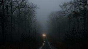 Превью обои автомобиль, фары, туман, деревья, дорога