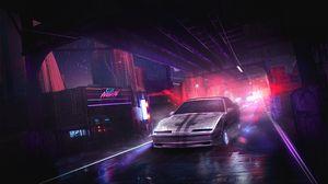Превью обои автомобиль, ночь, арт, улица, города