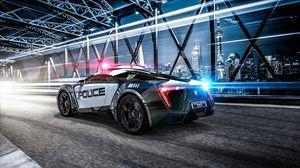 Превью обои автомобиль, полиция, спорткар, суперкар, огни