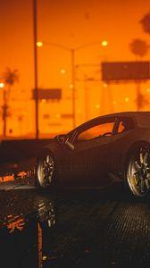 Превью обои автомобиль, спорткар, закат, ночь