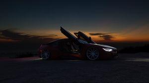 Превью обои автомобиль, суперкар, спорткар, ночь, закат