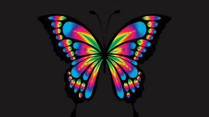 Превью обои бабочка, блеск, яркий, разноцветный, хроматический, призматический