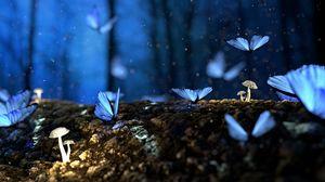 Превью обои бабочки, грибы, лес, фантазия, синий
