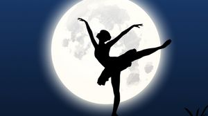 Превью обои балерина, силуэт, луна, танец