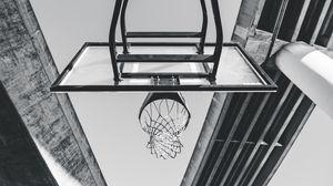 Превью обои баскетбол, кольцо, сетка, чб
