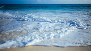 Превью обои берег, песок, волны, прибой