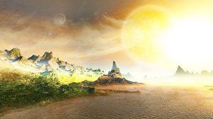 Превью обои берег, скалы, солнце, море